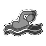 Grayscale sticker with pictogram of man swimming Royalty Free Stock Images