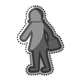 Grayscale sticker with pictogram of woman Royalty Free Stock Photos