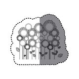 grayscale sticker with sunflowers field Royalty Free Stock Photo