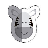 grayscale sticker with zebra head and middle shadow Stock Photos