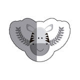 Grayscale sticker with zebra head and olive branchs and middle shadow Royalty Free Stock Photo