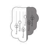 grayscale stickerpatroon met uitstekende sleutels die op kettingen hangen stock illustratie