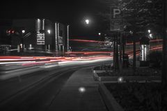 Grayscale and Time Lapse Photo of Vehicle at Night Time Royalty Free Stock Photos