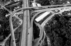 Grayscale Top View Photography of Roads Near Trees Royalty Free Stock Photo