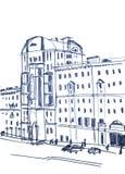 Grayscale Town. Figure marker, urban landscape, monochrome, retro Stock Photo
