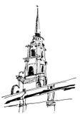 Grayscale Town. Figure marker, urban landscape, monochrome, retro Royalty Free Stock Photography