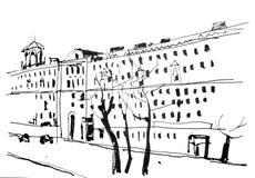 Grayscale Town. Figure marker, urban landscape, monochrome, retro Royalty Free Stock Photo