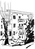 Grayscale Town. Figure marker, urban landscape, monochrome, retro Stock Photos