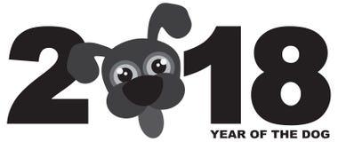 Grayscale-Vektor Illustration Hund 2018 Chinesischen Neujahrsfests lizenzfreie stockfotos