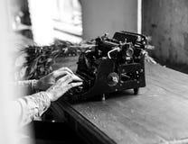 Grayscale Vintage Typewriter Stock Image