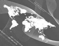 Grayscale world map vector illustration