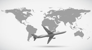 Grayscale of world map and airplane Stock Image