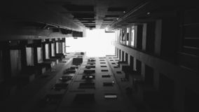 Grayscale and Worm's Eye View Photography of Building royalty free stock image