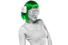 Grayscale Young Sexy Woman with Green Hair Stock Photos