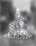 GrayscaleWeihnachtsbaum mit Sternen auf schönem Hintergrund Stockfoto