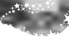 Grayscaleweihnachtszusammenfassungshintergrund mit Sternen und Schneeflocken Lizenzfreie Stockfotografie