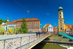Graz Österrike: Sikt av det gamla centret på solig dag Royaltyfri Fotografi