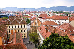 Graz. Ird's-eye view of the city of Graz in Austria Stock Images
