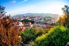 Graz. View of Graz city from Schlossberg in summertime. Graz is the second largest city in Austria after Vienna Stock Photos
