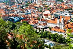 Graz. Aerial view of Graz, Austria with Kunsthaus Museum, the Grazer Murinsel and the Mariahilferkirche Royalty Free Stock Photography