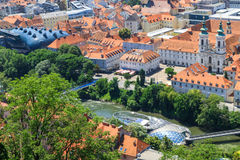 Graz, Aerial view of city center Royalty Free Stock Photography