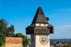 Graz, Austria. The Schlossberg - Castle Hill with the clock tower Uhrturm.  stock photography
