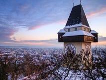 Graz, Austria. The Schlossberg - Castle Hill with the clock tower Uhrturm stock image