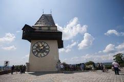 GRAZ, AUSTRIA: Schlossberg, Zegarowy wierza, UNESCO światowego dziedzictwa miejsce, Graz, Styria, Austria, Europa, Czerwiec 2017 Obraz Royalty Free