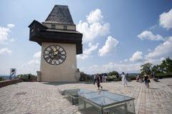 GRAZ, AUSTRIA: Schlossberg, Zegarowy wierza, UNESCO światowego dziedzictwa miejsce, Graz, Styria, Austria, Europa, Czerwiec 2017 Fotografia Stock