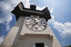 GRAZ, AUSTRIA: Schlossberg, Zegarowy wierza, UNESCO światowego dziedzictwa miejsce, Graz, Styria, Austria, Europa, Czerwiec 2017 Obraz Stock