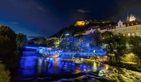 Graz bij nacht Stock Foto