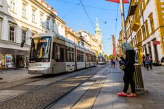 Graz city Austria tourist spot Herrengasse main street tram Stock Photo