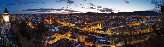 Graz city night top panorama (Austria). Stock Photos