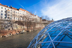 Graz city seen from Island on Mur river connected by a modern st Royalty Free Stock Photo