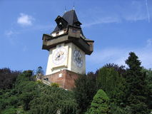 Graz clock tower. This is one of the city symbols. Placed on the Schloßberg hill, very close to the city center, offers a beautifull panaroma to the tourists Royalty Free Stock Image
