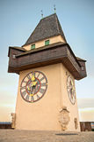Graz clock tower. Old historic clock tower in Graz, local city symbol and landmark on top of Schlossberg hill, where you can see beautiful panoramic view of Graz Royalty Free Stock Images