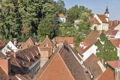 Graz downtown cityscape aerial view, Austria. Royalty Free Stock Image