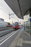 Graz Hauptbahnhof railway station platform, Austria. Royalty Free Stock Photo