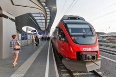 Graz Hauptbahnhof railway station platform, Austria. Royalty Free Stock Images