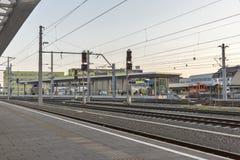 Graz Hauptbahnhof railway station platform, Austria. Stock Photos