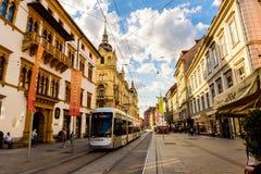Graz miasta Austria turystycznego punktu Herrengasse głównej ulicy tramwaj Obraz Royalty Free