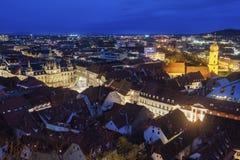 Graz panorama från slottkullen Arkivfoto