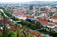 Graz roofs and Kunsthaus Stock Images
