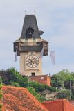 Graz Schlossberg Clock Tower Stock Photography