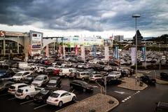 Graz Straßgang Österrike - November 24th, 2017: Mycket av parkeringshuset Royaltyfria Foton