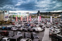 Graz Straßgang Austria - November 24th, 2017 : Full of car park. Ed in a public parking lots in the Center mall during the Christmas shopping season, shopping Stock Image