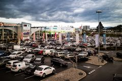 Graz Straßgang Austria - November 24th, 2017 : Full of car park. Ed in a public parking lots in the Center mall during the Christmas shopping season, shopping Royalty Free Stock Photos