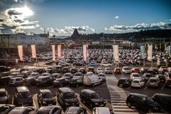 Graz Straßgang Austria - November 24th, 2017 : Full of car park. Ed in a public parking lots in the Center mall during the Christmas shopping season, shopping Stock Photography