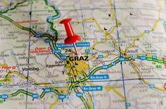 Graz sur la carte Image libre de droits