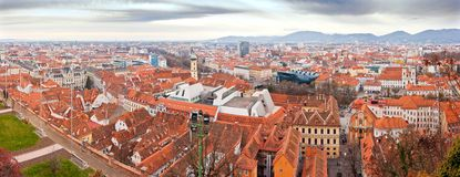 Graz town panorama. Panoramic aerial view of Graz, second largest town in Austria. This panorama was taken from Schlossberg hill Royalty Free Stock Photos